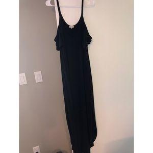 Cold-Shoulder Black Maxi Dress